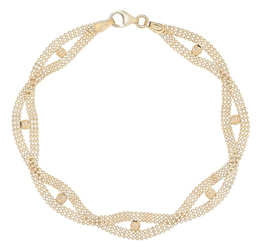 UNOAERRE 18K Yellow Gold Woven Design Bracelet with Beads