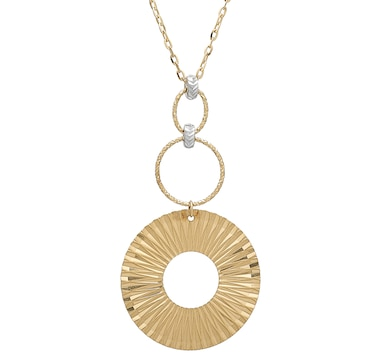 UNOAERRE 18K Two-Tone Gold Necklace with Ribbed Disc Drop Pendant