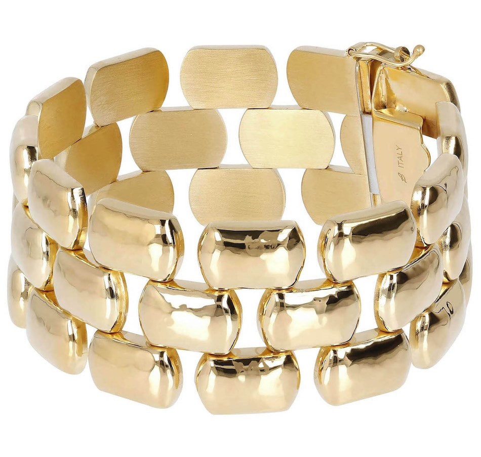 Image 500146.jpg , Product 500-146 / Price $169.00 , Etrusca Triple Row Hammered Panter Linked Bracelet from Etrusca Jewellery on TSC.ca's Jewellery department