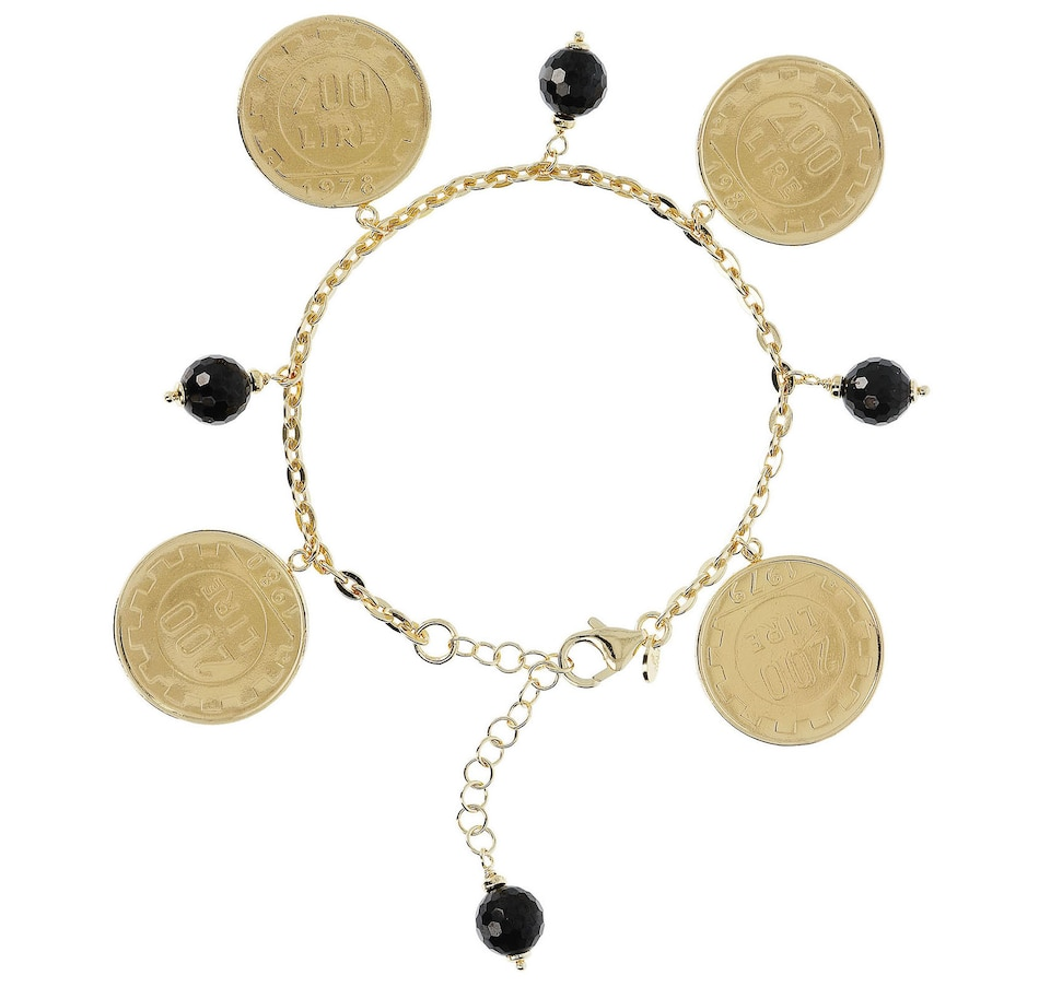 Image 500148.jpg , Product 500-148 / Price $97.00 , Etrusca Coins and Black Spinel Gemstone on Forzatina Chain Charm Bracelet from Etrusca Jewellery on TSC.ca's Jewellery department