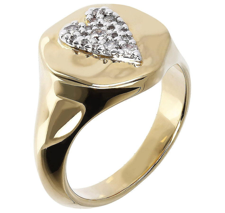 Image 500159.jpg , Product 500-159 / Price $65.00 , Etrusca Hammered Cubic Zirconia Heart Ring from Etrusca Jewellery on TSC.ca's Jewellery department