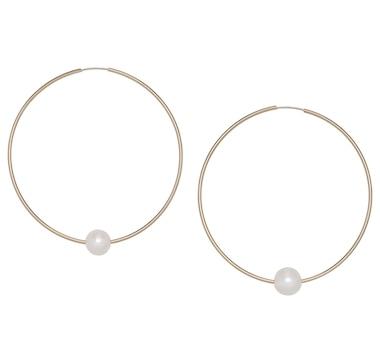Roz Kwan Jewellery 14k Yellow Gold 9-10mm Freshwater Pearl Hoop Earrings