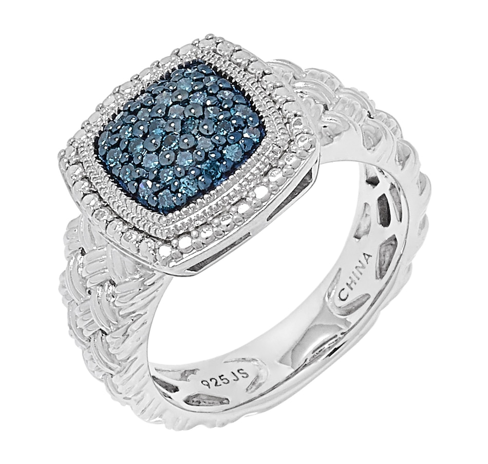 Image 500285_CUSBL.jpg , Product 500-285 / Price $149.99 , Colours of Diamonds Sterling Silver Diamond Ring with Basket Weave Shank from Colours of Diamonds on TSC.ca's Jewellery department