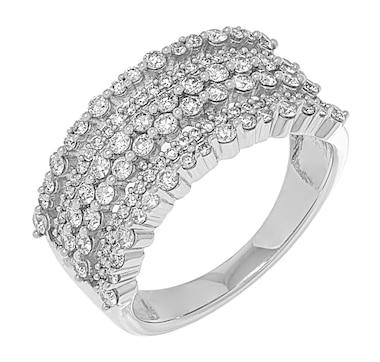 14K White Gold Multi-Layer Diamond Ring