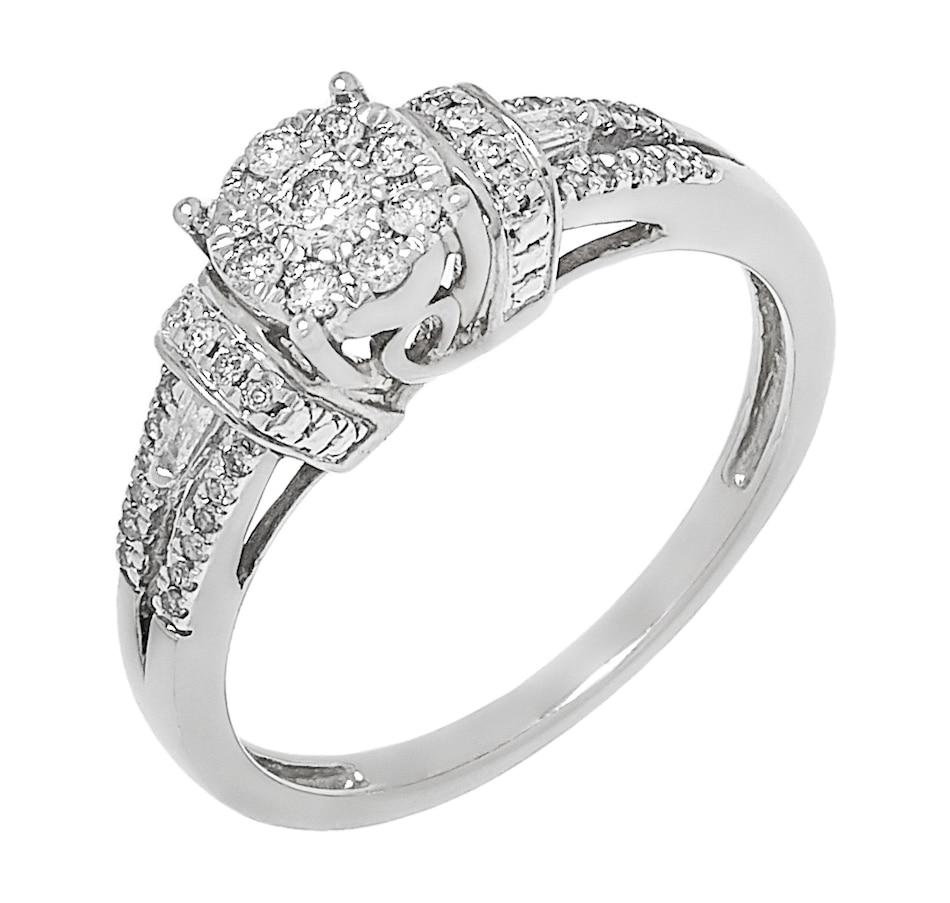 Image 500404_WGL.jpg , Product 500-404 / Price $489.99 , Best of Diamonds Show 10K Gold Split Shank Diamond Halo Ring  on TSC.ca's Jewellery department