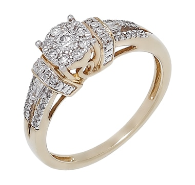 Best of Diamonds Show 10K Gold Split Shank Diamond Halo Ring
