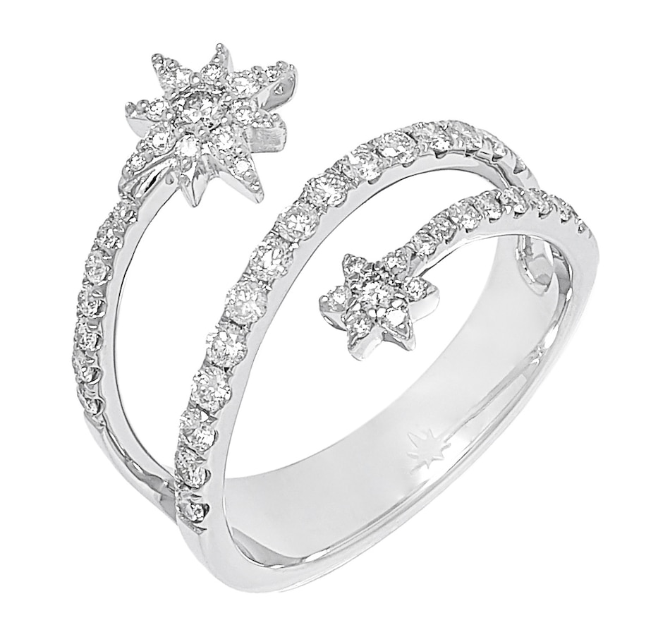 Image 500469_WGL.jpg , Product 500-469 / Price $1,399.88 , 14K White Gold Diamond Star Bypass Ring from Diamond Show on TSC.ca's Jewellery department