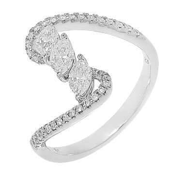 18K White Gold Marquise & Round Diamond Wave Ring