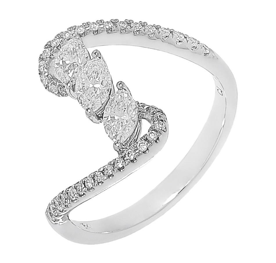 Image 500524_WGL.jpg , Product 500-524 / Price $1,799.88 , 18K White Gold Marquise & Round Diamond Wave Ring  on TSC.ca's Jewellery department
