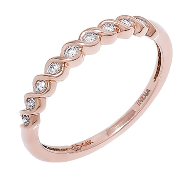 10K Gold & Diamond Swirl Band