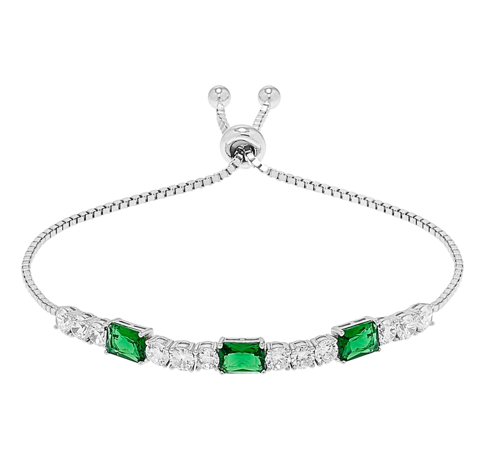 Image 500653_EMR.jpg , Product 500-653 / Price $102.99 , Gem Illusions Sterling Silver Rhodium Plate Simulated Gemstone & Cubic Zirconia Bolo Bracelet from Gem Illusions on TSC.ca's Jewellery department