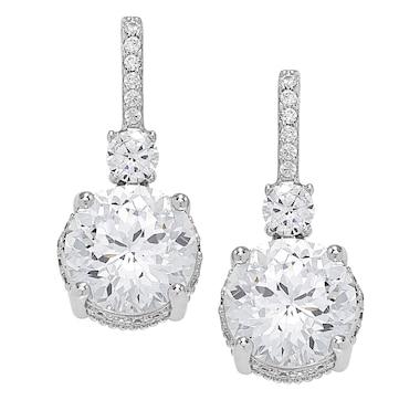 Deborah Freund Designs Sterling Silver Cubic Zirconia 102 Facet Drop  Earrings