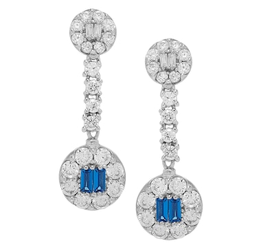Gem Illusions Sterling Silver Simulated Gemstone & Cubic Zirconia Dangling Earrings