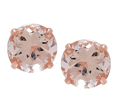 14K Gold 5 mm Round Morganite Stud Earrings