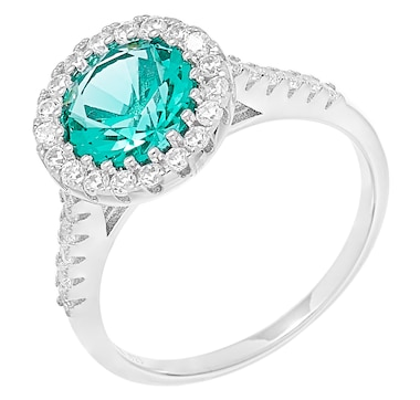 Gem Illusions Sterling Silver Round Simulated Gemstone and White Cubic Zirconia Halo Ring