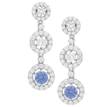 Gem Illusions Sterling Silver Round Simulated Gemstone and White Cubic Zirconia 3-Drop Earrings