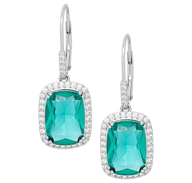 Gem Illusions Sterling Silver Emerald Cut Simulated Gemstone and Cubic Zirconia Halo Leverback Earrings