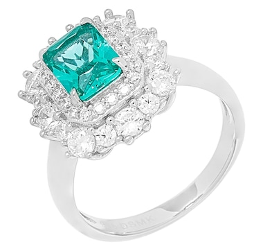 Gem Illusions Sterling Silver Emerald Cut Simulated Gemstone  and Cubic Zirconia Double Halo Ring