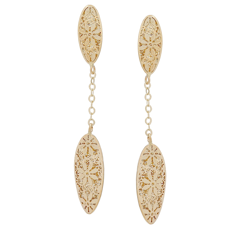 Image 501729_YGL.jpg , Product 501-729 / Price $388.99 , Stefano Oro 14K Yellow Gold Ricami Oval Dangle Earrings from Stefano Oro on TSC.ca's Jewellery department