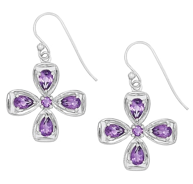 Himalayan Gems Sterling Silver Gemstone Flower Drop Earrings