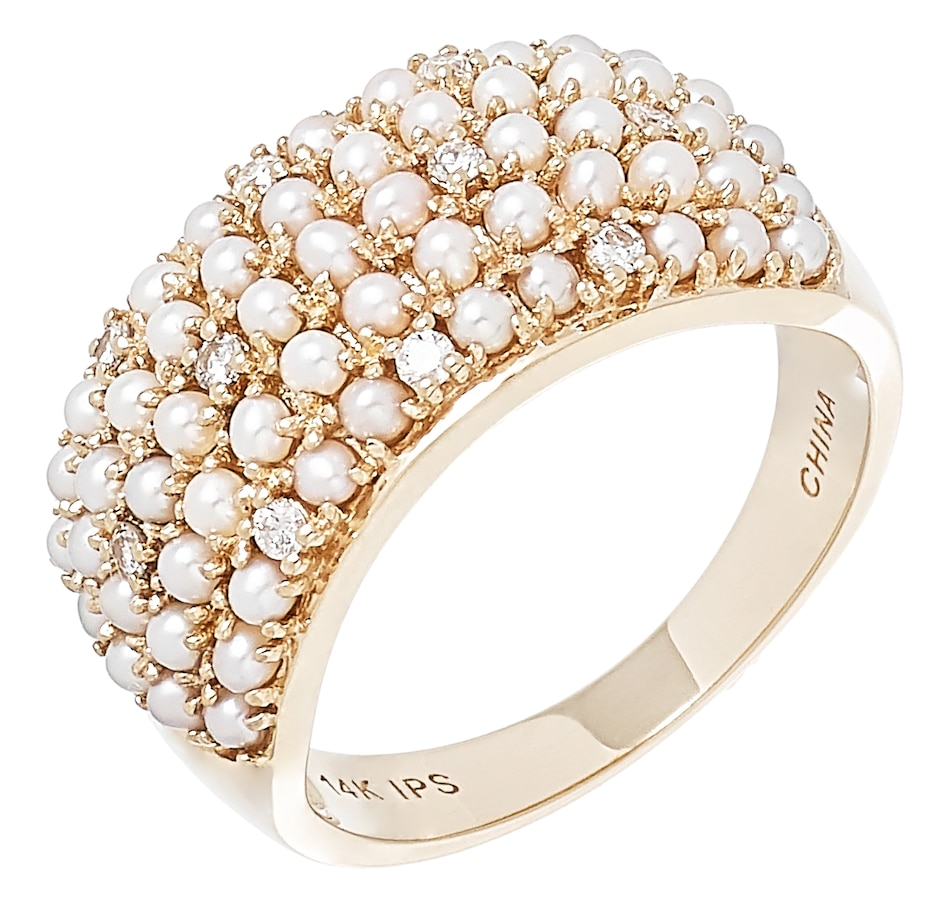 Image 502181.jpg , Product 502-181 / Price $1,299.33 , Imperial Pearls 14K Yellow Gold 1.5-2mm Seed Freshwater Pearl & Diamond Band from Imperial Pearl on TSC.ca's Jewellery department