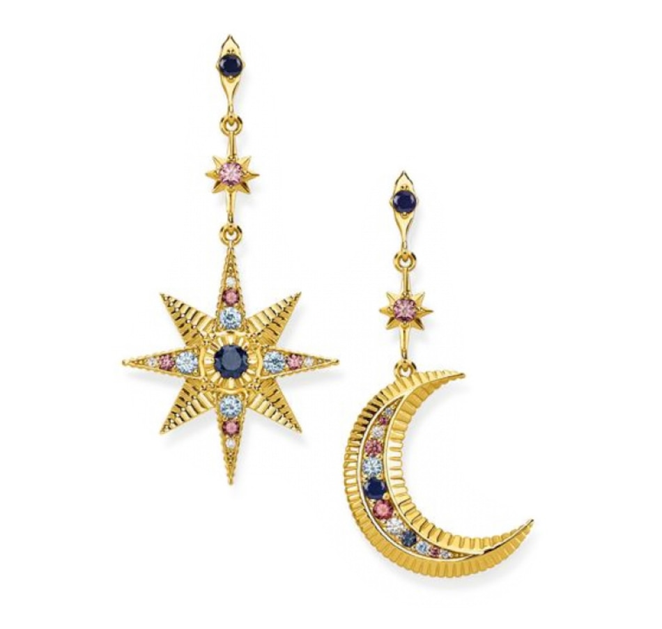 Image 502285_YGP.jpg , Product 502-285 / Price $264.00 , Thomas Sabo Sterling Silver Royalty Moon Earrings from Thomas Sabo on TSC.ca's Jewellery department