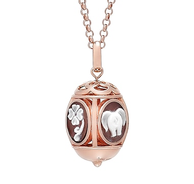 "Cameo Italiano Sterling Silver 18K Gold Plated ""Carousel"" 4 Fortune Cameo Design Pendant with Chain"