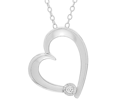 Colours of Diamonds Sterling Silver Diamond Heart Pendant with Chain