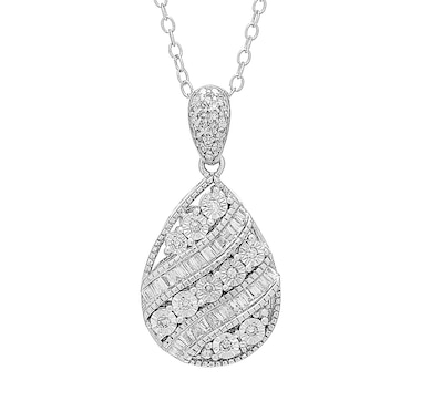 Colours of Diamonds Sterling Silver White Diamond Drop Pendant with Chain