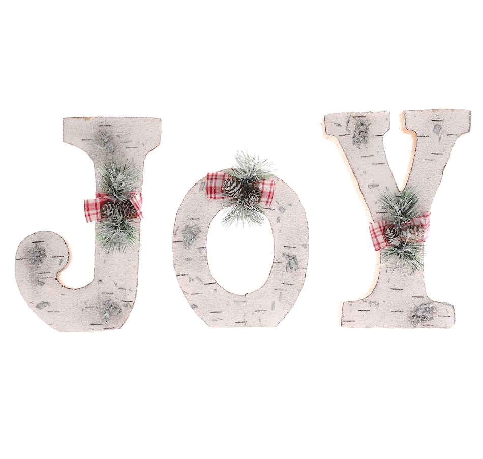 Image 505262_JOY.jpg , Product 505-262 / Price $18.33 , Holiday Memories Cut Birch Christmas Letter Set from Holiday Memories on TSC.ca's Home & Garden department