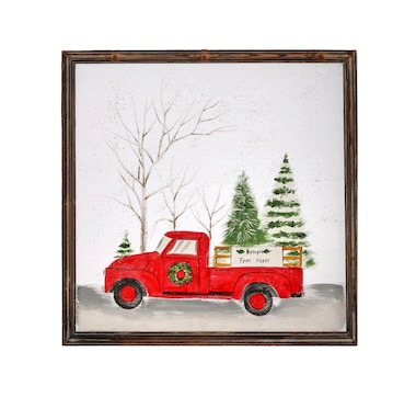 Holiday Memories Tree Frame Truck in Snow Screen Print Artwork