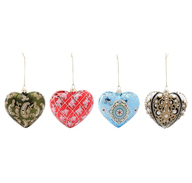 Joan Rivers Set of 4 Russian-Inspired Heart Ornaments