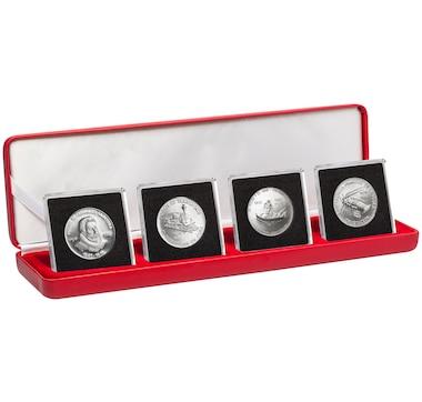 Four-Coin Set - 5 Pesos 1982-1983 Ernest Hemingway/Railway/Miguel de Cervantes/Lobster Fishing