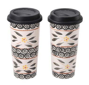 temp-tations Set of 2 Ceramic Travel Mugs with Gift Box