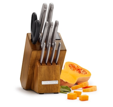 KitchenAid 12-Piece Classic Forged Brushed Stainless Steel Knife Set with Storage Block