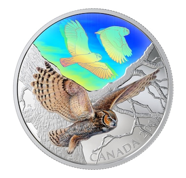 2019 Two-Ounce $30 Great Horned Owls Fine Silver Coin Majestic Birds in Motion