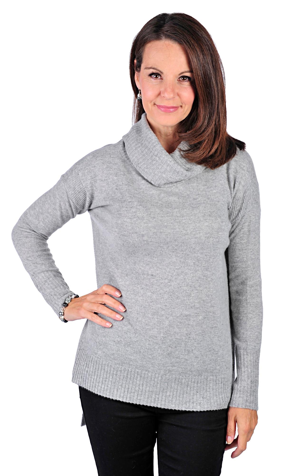 Lusso Cashmere 100% Cashmere Cowl Neck Sweater