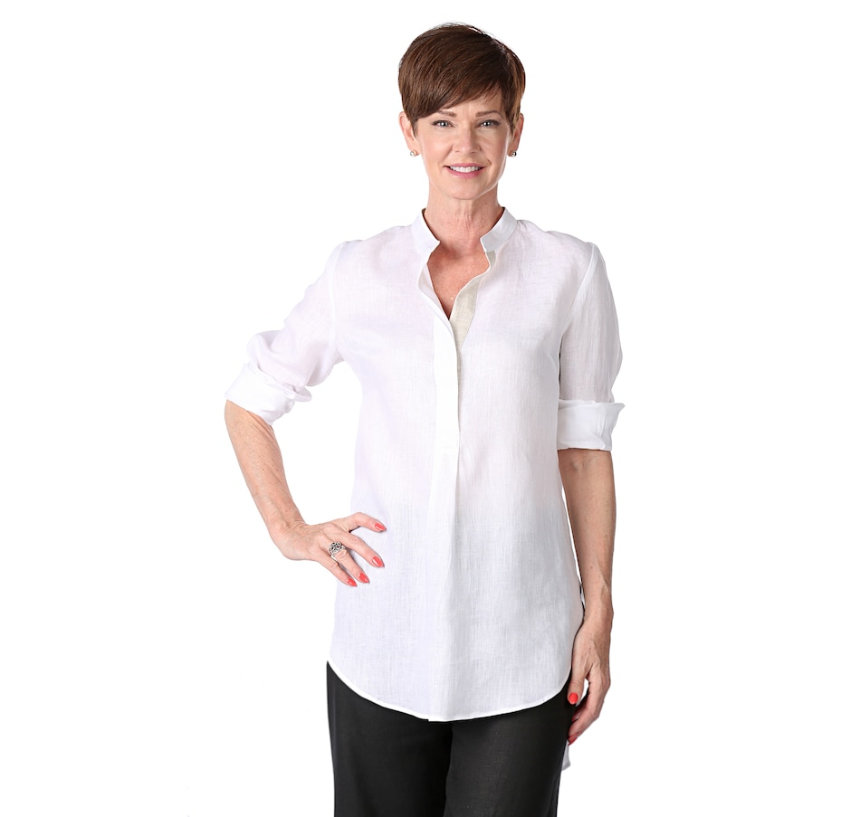 Image 521108_WHT.jpg , Product 521-108 / Price $325.00 , Whitney Linen Linen Athens Stand Collar Shirt from Whitney Linen on TSC.ca's Fashion department