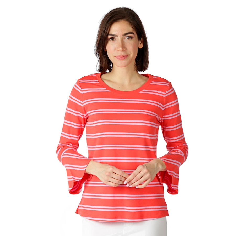 Image 522571_SNCRL.jpg , Product 522-571 / Price $19.33 , Isaac Mizrahi Live! Crew Neck Bell Sleeve Top with Stripes from Isaac Mizrahi Fashion on TSC.ca's Fashion department