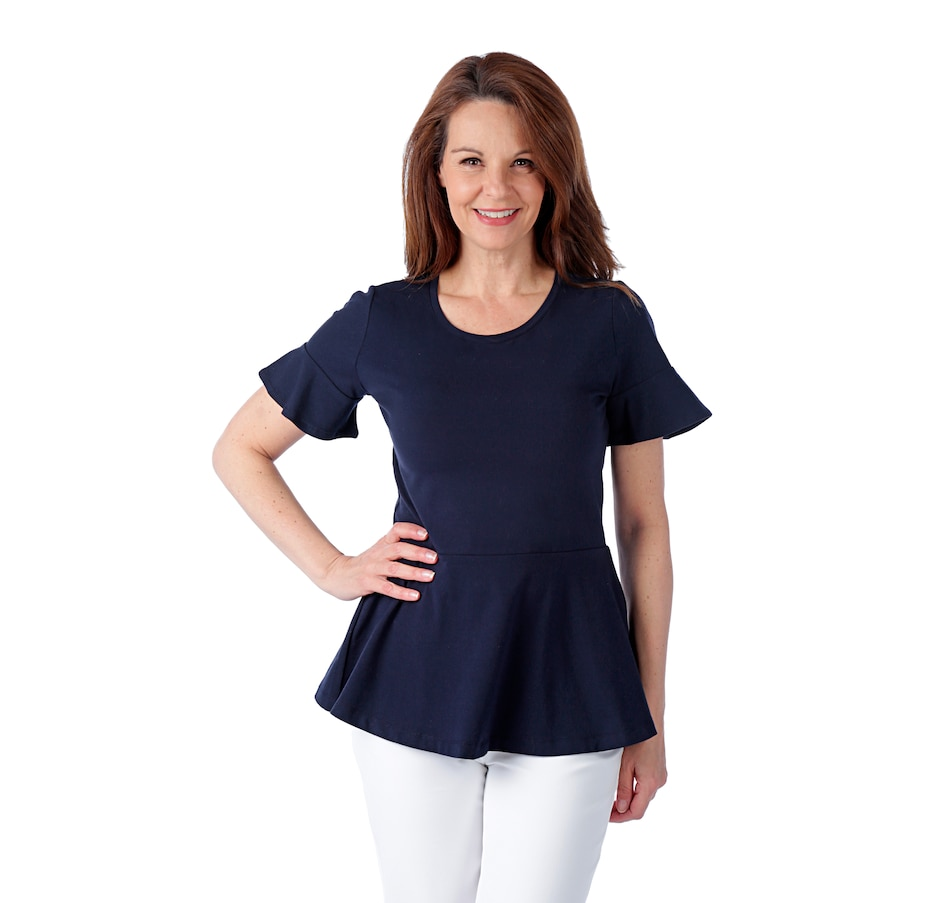 Image 523066_DNA.jpg , Product 523-066 / Price $24.33 , Isaac Mizrahi Live! Ruffle Sleeve Peplum Tee from Isaac Mizrahi Fashion on TSC.ca's Fashion department