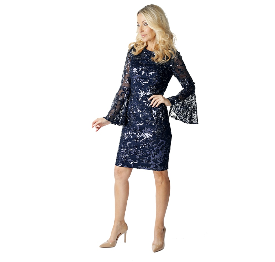 Image 523505_NVY.jpg , Product 523-505 / Price $322.33 , Brian Bailey Collection Lace Sequin Bell Sleeve Dress from Brian Bailey Fashions on TSC.ca's Fashion department