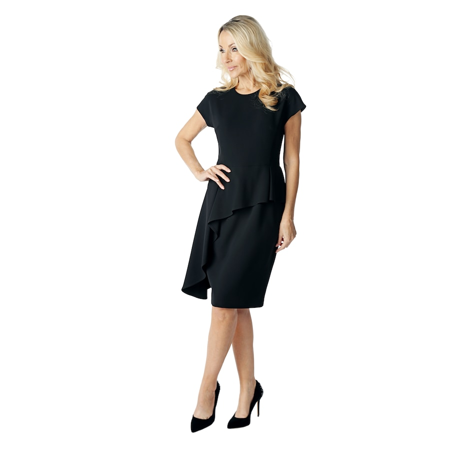 Image 523515_BLK.jpg , Product 523-515 / Price $399.33 , Brian Bailey Collection Cap Sleeve Asymmetrical Peplum Dress from Brian Bailey Fashions on TSC.ca's Fashion department
