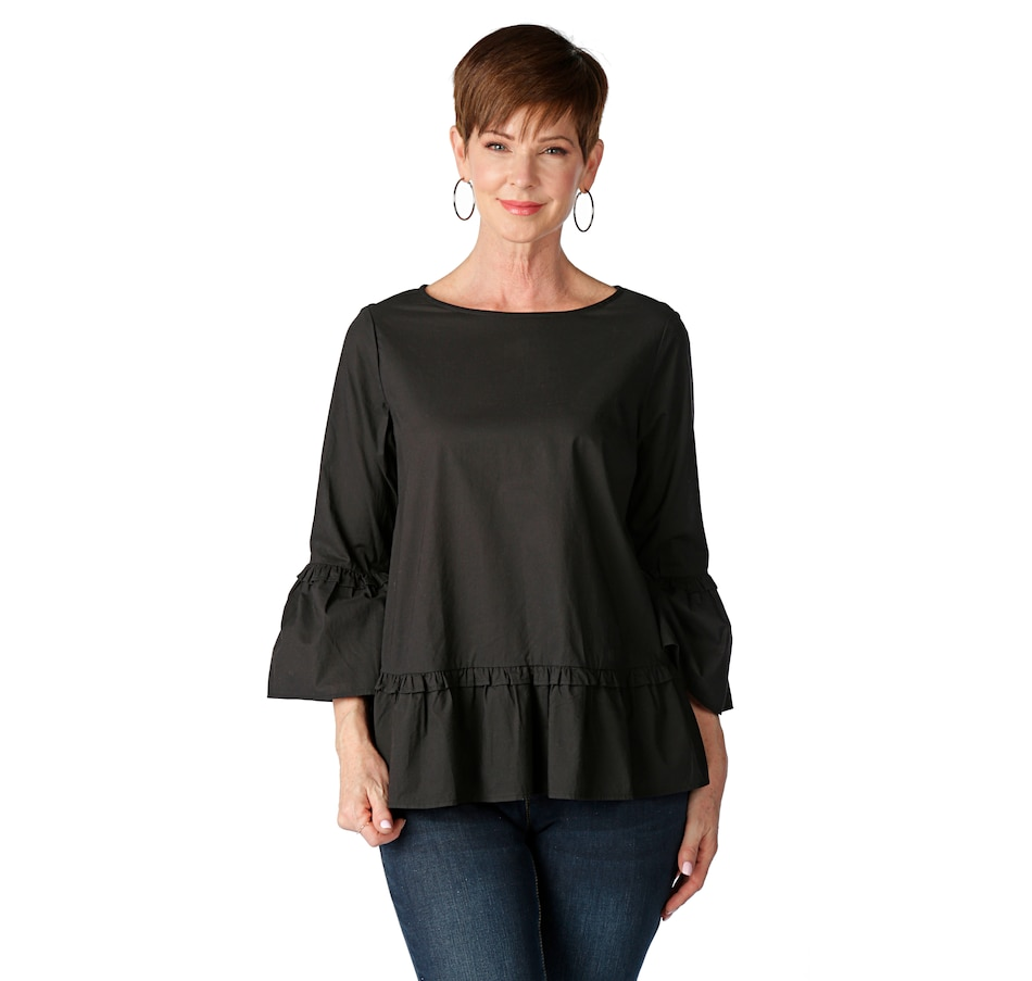 Image 523779_BLK.jpg , Product 523-779 / Price $47.88 , DG2 by Diane Gilman Poplin Woven Ruffle Top from DG2 by Diane Gilman on TSC.ca's Fashion department