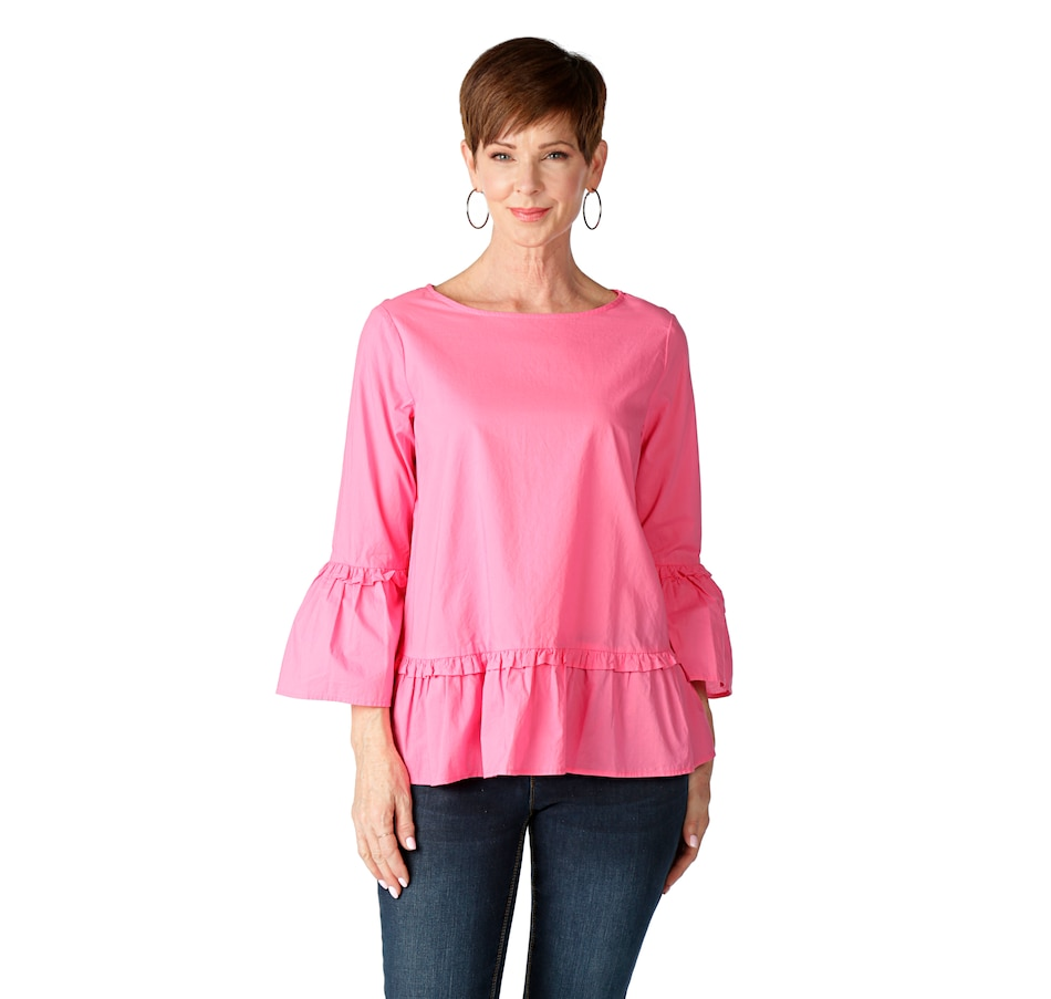 Image 523779_PNK.jpg , Product 523-779 / Price $19.33 , DG2 by Diane Gilman Poplin Woven Ruffle Top from DG2 by Diane Gilman on TSC.ca's Fashion department