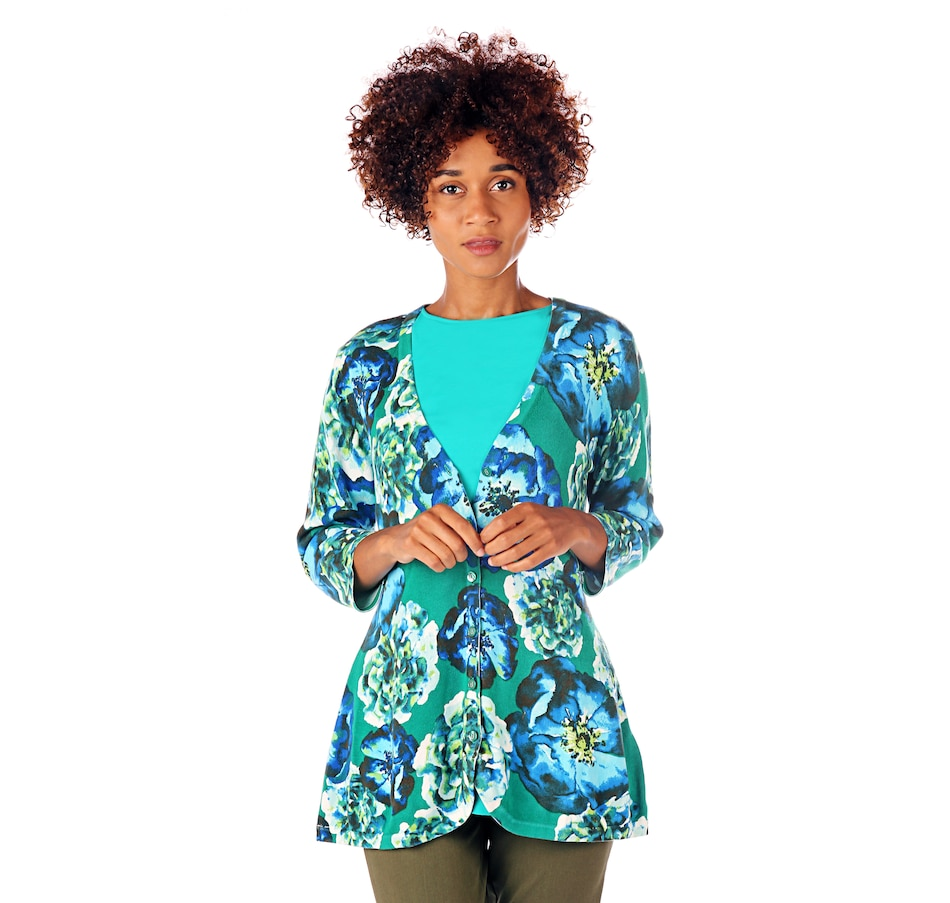 Image 524760_GRN.jpg , Product 524-760 / Price $15.33 , Isaac Mizrahi Live! 3/4 Sleeve Floral Printed Curved Hem Cardigan from Isaac Mizrahi Fashion on TSC.ca's Fashion department