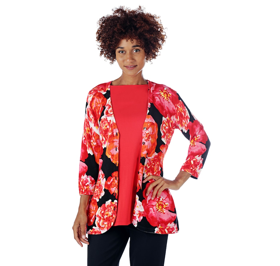 Image 524760_RED.jpg , Product 524-760 / Price $15.33 , Isaac Mizrahi Live! 3/4 Sleeve Floral Printed Curved Hem Cardigan from Isaac Mizrahi Fashion on TSC.ca's Fashion department
