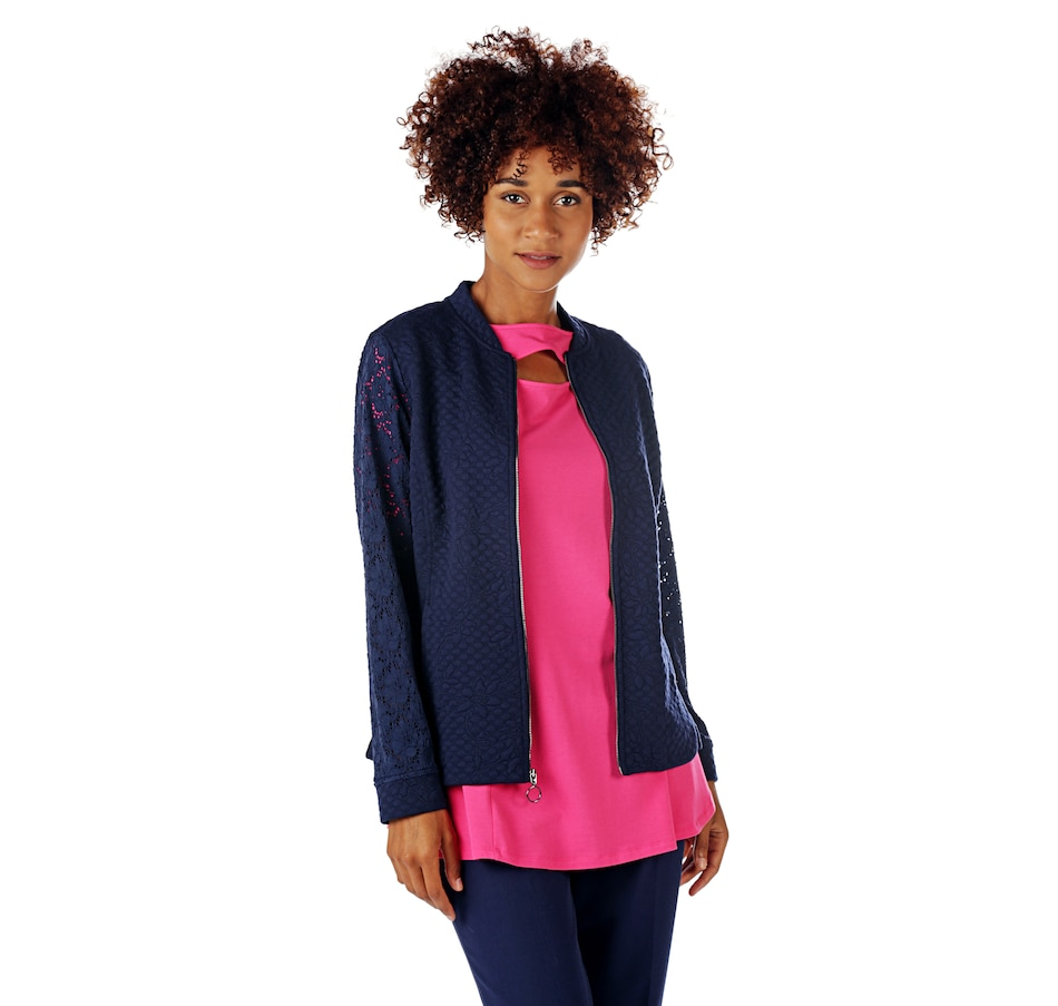 Image 524766_DNA.jpg , Product 524-766 / Price $24.33 , Isaac Mizrahi Live! Knit Jacket with Lace Sleeve from Isaac Mizrahi Fashion on TSC.ca's Fashion department
