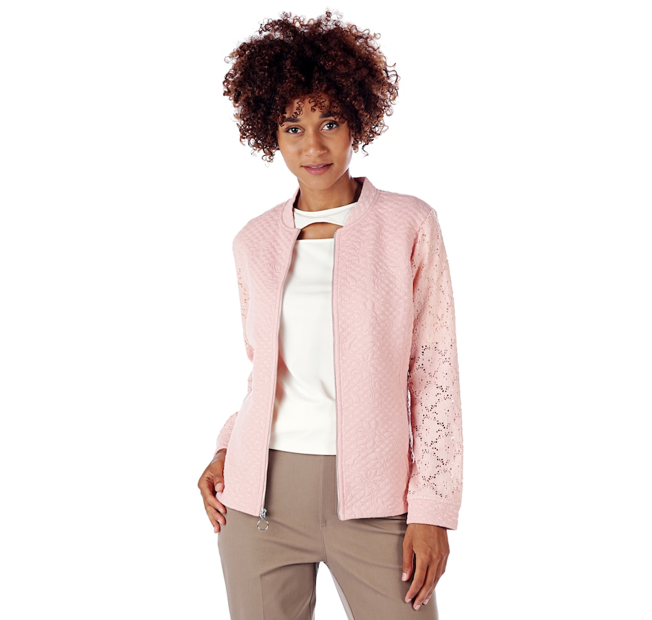 Image 524766_ROSBL.jpg , Product 524-766 / Price $24.33 , Isaac Mizrahi Live! Knit Jacket with Lace Sleeve from Isaac Mizrahi Fashion on TSC.ca's Fashion department