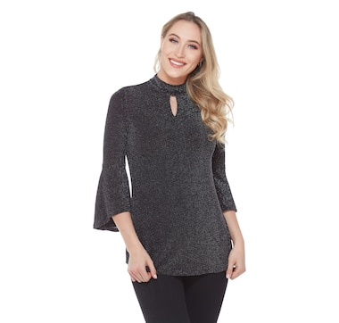 Nygard Knit Top with Bell Sleeve and Choker Accent