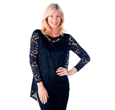 820d8033 Product 525-424 / Price $59.99 , Isaac Mizrahi Live! Stretch Lace Tunic with